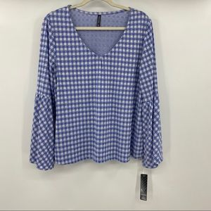 NWT Massini bell sleeve gingham top size XL
